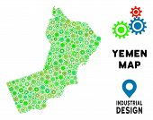 Gear Yemen Map Composition Of Small Cogwheels. Abstract Territory Plan In Green Color Tinges. Vector poster