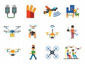 Drones Icon Set. Drone Technology Surveillance Racing Delivery Drone Usb Cable Drone Control Camera  poster