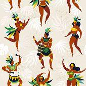 Brazil Carnival. Vector Seamless Pattern With Flat Characters. Brazilian Samba Dancers Of The Carniv poster