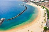 Aerial Birdeye View Of Las Teresitas Picturesque Beach, Tenerife Island, Canarias, Spain poster