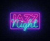 Jazz Night Neon Sign Vector. Jazz Music Design Template Neon Sign, Light Banner, Neon Signboard, Nig poster