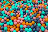 Colorful Child Balls. Multi-colored Plastic Balls. A Childrens Playroom. Background Texture Of Mult poster