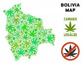 Royalty Free Cannabis Bolivia Map Collage Of Weed Leaves. Template For Narcotic Addiction Campaign A poster