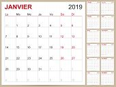 French Planning Calendar 2019, French Calendar Template For Year 2019, Set Of 12 Months, Week Starts poster