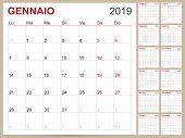Italian Planning Calendar 2019, Italian Calendar Template For Year 2019, Set Of 12 Months, Week Star poster