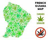 Royalty Free Cannabis French Guiana Map Composition Of Weed Leaves. Template For Narcotic Addiction  poster