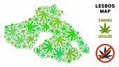 Royalty Free Cannabis Greek Lesbos Island Map Mosaic Of Weed Leaves. Template For Narcotic Addiction poster