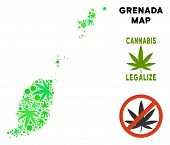 Royalty Free Cannabis Grenada Map Composition Of Weed Leaves. Concept For Narcotic Addiction Campaig poster
