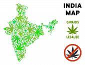 Royalty Free Marijuana India Map Mosaic Of Weed Leaves. Concept For Narcotic Addiction Campaign Agai poster