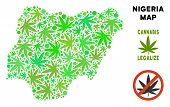Royalty Free Cannabis Nigeria Map Collage Of Weed Leaves. Template For Narcotic Addiction Campaign A poster