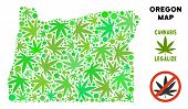 Royalty Free Marijuana Oregon State Map Mosaic Of Weed Leaves. Concept For Narcotic Addiction Campai poster