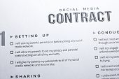 Social Media Contract. Contract Regulating Using Social Media By Teen. Contract Signing - Between Pa poster