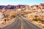 Scenic road in  the  Valley of Fire State Park, Nevada, United States. poster