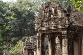 Ancient Stone Carving Of Banteay Kdei Temple, Angkor Wat, Cambodia. Ancient Temple Gate Bas-relief.  poster