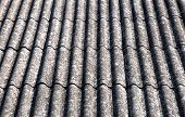foto of asbestos  - close up on corrugated asbestos roof on byre building in Poland - JPG