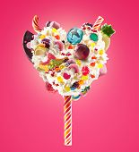 Sweet Lolipop In Heart Form Of Whipped Cream With Sweets, Jellies, Heart Front View. Crazy Freakshak poster