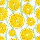 Lemon Slices Seamless Pattern On Wavy Background. Cute Yellow Lemon Slices. Citrus Fruit Background. poster