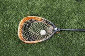 Orange And Black Lacrosse Goalie Stick With A Ball In The Net Lying On A Green Turf Field. poster