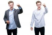 Young handsome blond business man wearing different outfits angry and mad raising fist frustrated an poster