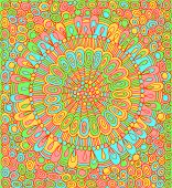 Doodle Mandala With Circle Pattern Background. Psychedelic Colorful Graphic Artwork. Vector Illustra poster