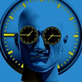 Time Concept 3d Illustration: Human Head  And Time, Business Punctuality, Appointment Stress, Deadli poster