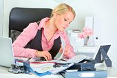 Hard Working On Documents Modern Business Woman