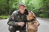 Man In Military Uniform With German Shepherd Dog, Outdoors poster