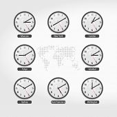 World Time Clocks. Current Time In Famous World Cities. Hotel Or Stock Exchange Wall Clocks. Local T poster