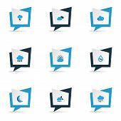 Air Icons Colored Set With Cloudy Sky, Moon, Stormy And Other Cloudy Sky Elements. Isolated  Illustr poster