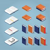 Vector Isometric Set Of Books. Collection Of Differently Colored And Designed Books - Standing Book, poster