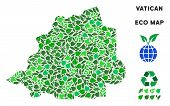 Ecology Vatican Map Collage Of Herbal Leaves In Green Color Tinges. Ecological Environment Vector Co poster
