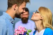 Lovers Meeting Outdoor Flirt Romance Relations. Couple Romantic Date Lover Present Bouquet Flowers.  poster