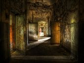 image of abandoned house  - hallway in an abandoned complex - JPG
