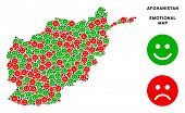 Постер, плакат: Emotion Afghanistan Map Mosaic Of Emojis In Green And Red Colors Positive And Negative Mood Vector