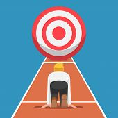 Businessman On Starting Point And Ready To Run At The Target. Business Target And Starting Career Co poster