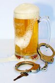DUI concept. Drinking and Driving Arrest Concept. Beer Mug with beer, hand cuffs, and Car Key.  poster