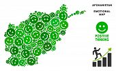 Постер, плакат: Happiness Afghanistan Map Collage Of Smile Emojis In Green Hues Positive Thinking Vector Concept A