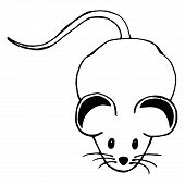 Grey Mouse. Vector Of A Cartoon Mouse. Hand Drawn Rat. poster