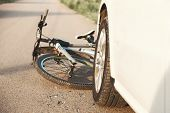 A Close-up Of A Bicycle Caught Under The Wheels Of A Car. Accident On The Road, Accident, Traffic Ru poster