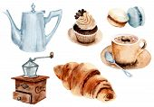 Watercolor Drawing Coffee Set: Cappuccino, Coffee, Cake, Coffee Pot, Coffee Grinder Croissant Macaro poster