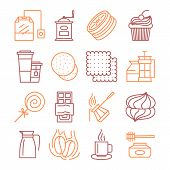 Vector Tea And Coffee Linear Icons Set Illustration. Coffee House Or Shop Related Objects. Tea Theme poster