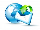 Global Shipping and Communication Email concept illustrations with a 3D glossy Globe and style postcard with an arrow pointing to the center of the image.