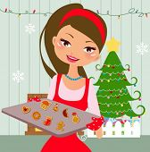 Woman is making christmas cookies. Eve is baking christmas cookies. Lifestyle vector Illustration