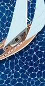 Sailing Ship Vertical Flyer With Space For Text. Top View Sail Boat On Deep Blue Sea Water. Luxury Y poster
