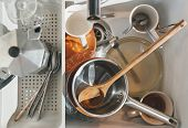 Full Kitchen Sink Of Dirty Dirty Dishes. Spoons, Forks, Cups, Coffee Maker, Tableware. poster