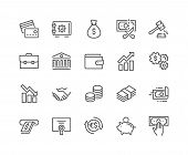 Simple Set Of Finance Related Vector Line Icons. Contains Such Icons As Taxes, Money Management, Han poster