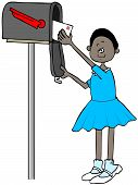 Illustration Of A Black Girl On Her Tip-toes Getting A Letter Out Of A Mailbox. poster