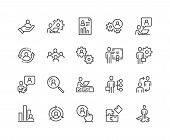 Simple Set Of Business Management Related Vector Line Icons. Contains Such Icons As Inspector, Perso poster