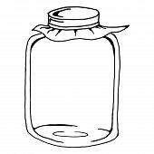 Glass Jar With Lid. Vector Of A Glass Jar. Hand Drawn  Empty Jar. poster
