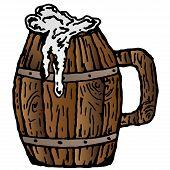 Wooden Mug With Beer. Vector Illustration Of A Vintage Mug Made Of Wood For Beer. Hand Drawn Mug Wit poster